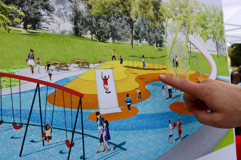 TRIBUNE PHOTO: ZANE SPARLING - A rendering shows the final design for Glenhaven Park in the Madison South neighborhood of Portland.