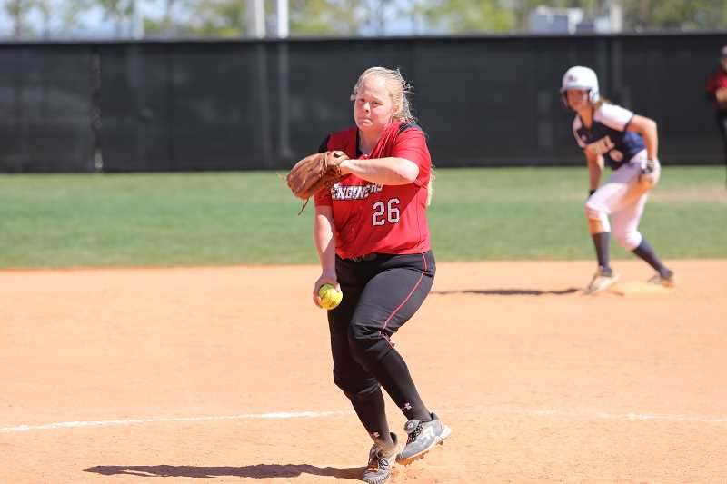 COURTESY PHOTO - Sarah Harms earned her fourth straight league pitching honor, this time for the third week in a row.