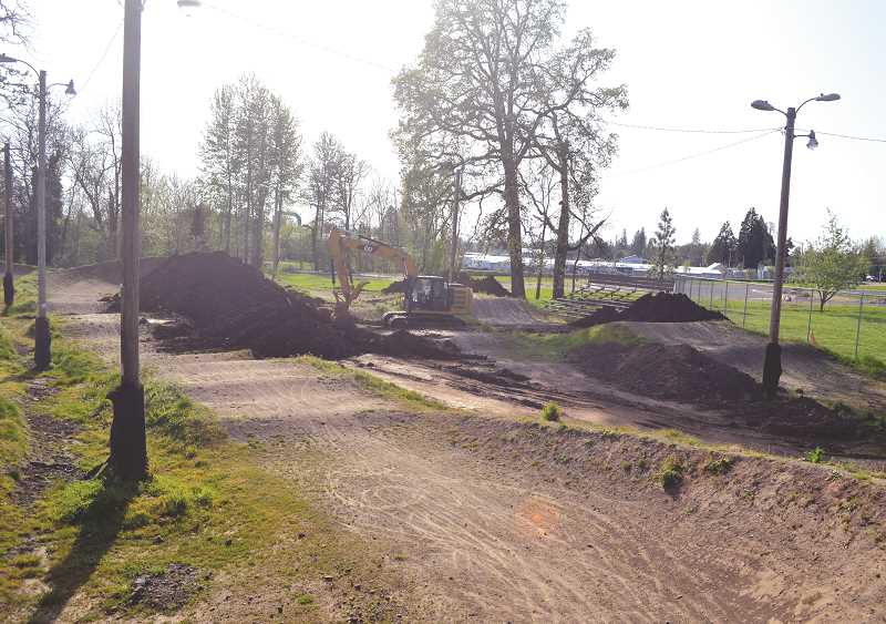 PIONEER PHOTO: TANNER RUSS - Molalla River BMX track is currently under renovation to upgrade the existing layout and functionality of the course. Track operator Mike Dahlberg expects the track to be closed until late May while construction is underway, weather and resources permitting.
