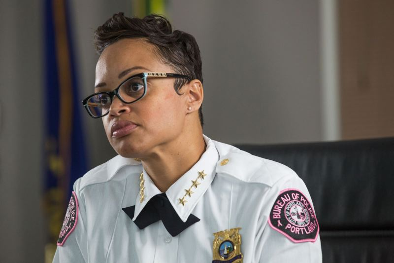 PORTLAND TRIBUNE FILE PHOTO - Chief of Police Danielle Outlaw had asked for 90 additional officers, but Mayor Wheeler's proposed budget only comes through with 58. Still, that is more than the 14 recommended by the city budget office.