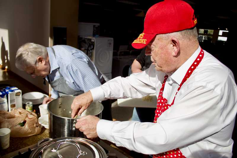 OUTLOOK PHOTO: CHRISTOPHER KEIZUR - Warner Allen won the Golden Whisk this year after wowing people with his seafood bouillabaisse Tuesday afternoon, April 24.