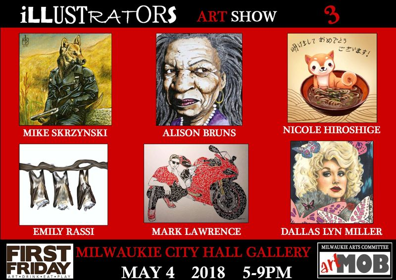 Illustrators will converge on Milwaukie City Hall for May's First Friday event.
