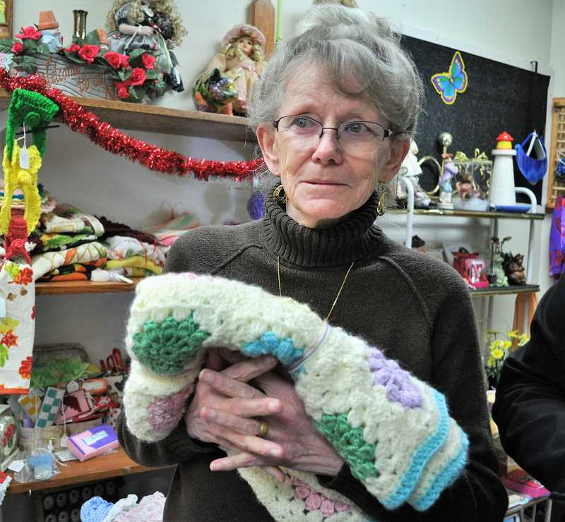 GAZETTE PHOTO: BLAIR STENVICK - Fran Newham has been selling knit baby blankets at the Butterfly Boutique for the last six years.