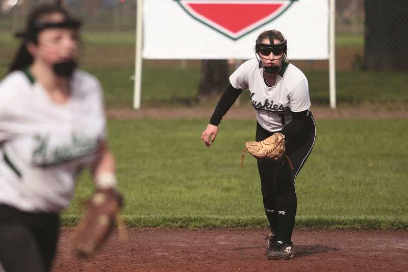 PHIL HAWKINS - North Marion junior Samantha Baylie has made a smooth transition to playing second base after earning All-Conference honors in the outfield in her first two years with the Huskies.