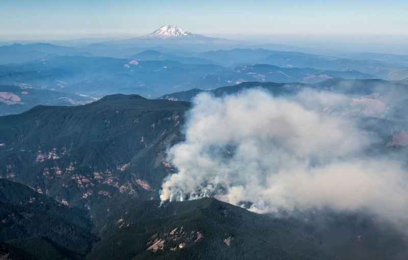 PAMPLIN MEDIA GROUP FILE PHOTO - Smoke from last summer's Eagle Creek Trail fire rises in the Columbia River Gorge.