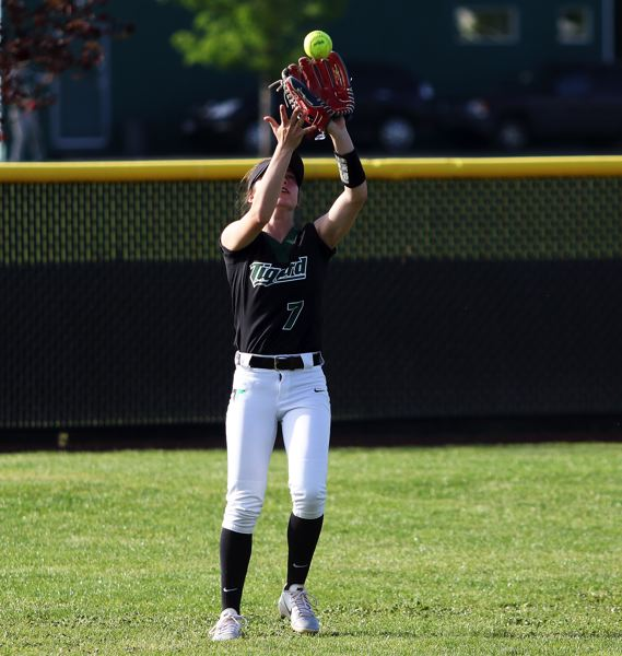 DAN BROOD - Tigard sophomore center fielder Lexi Klum gets under a fly ball during the 3-1 win over Sherwood.