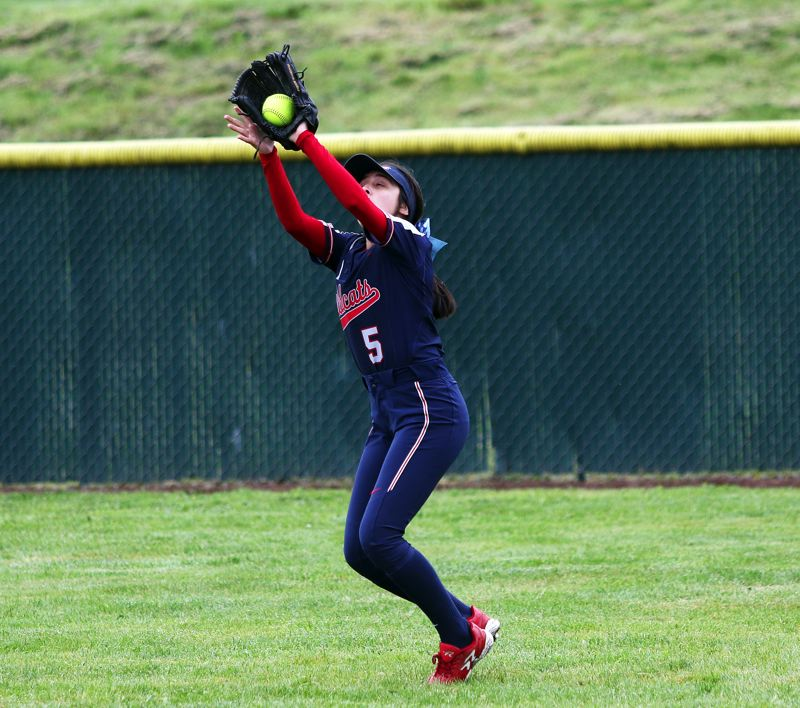 TIMES PHOTO: DAN BROOD - Westview sophomore right fielder Mia Patino makes a catch during Saturdays game at Tualatin.