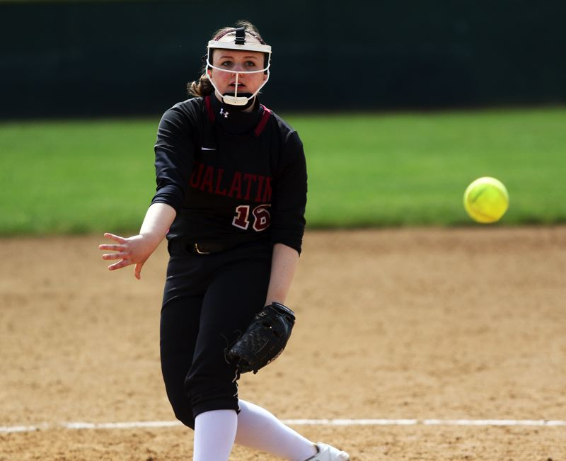 TIMES PHOTO: DAN BROOD - Tualatin senior pitcher Megan Woodward fires in a pitch during the Timberwolves 5-0 win over Westview on Saturday.
