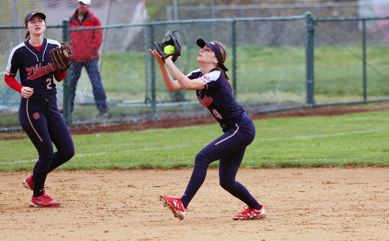 TIMES PHOTO: DAN BROOD - Westview freshman shortstop Emma Antich makes a catch during the Wildcats' game at Tualatin on Saturday.