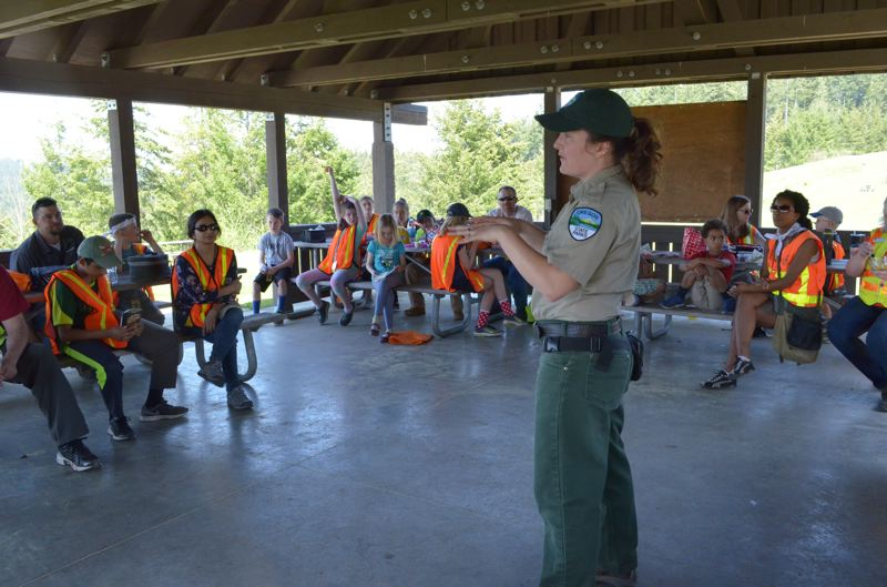 "STAFF PHOTO: OLIVIA SINGER - The kids got to hear from a park ranger at L.L. ""Stub"" Stewart Memorial State Park for their third visit of the day."