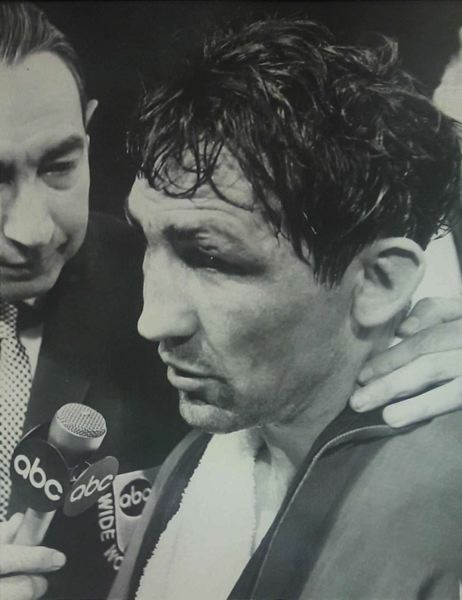 COURTESY PHOTO: BOBBIE KENDALL - Andy Kendall talks with ABC 'Wide World of Sports' announcer Howard Cosell following a fight.