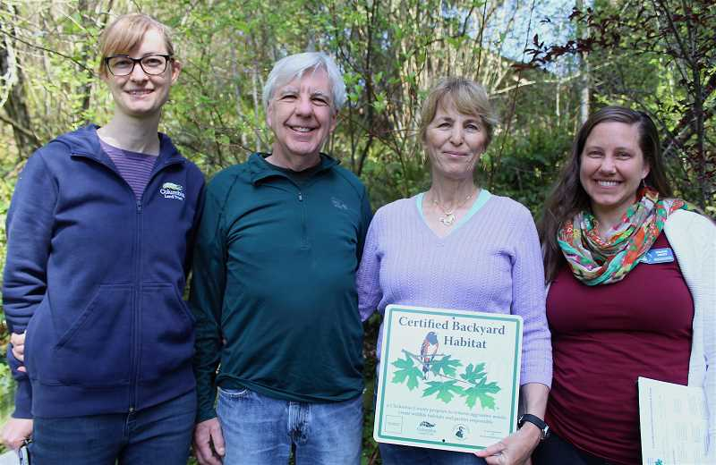 REVIEW PHOTO: SAM STITES - Susie Peterson of Columbia Land Trust, Steve Benson, Lisa Brice and Nikkie West of Portland Audubon Society