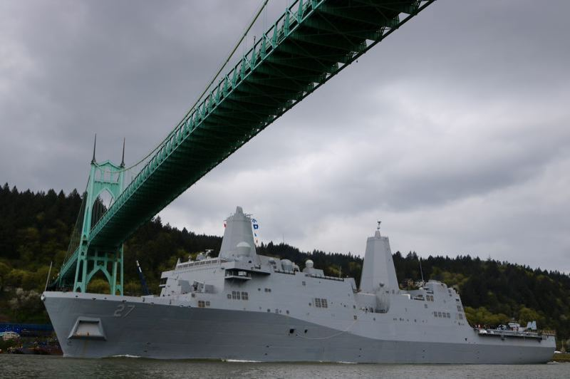 PAMPLIN MEDIA GROUP: ZANE SPARLING - The USS Portland arrived in town on April 14 for its commissioning ceremony one week later.