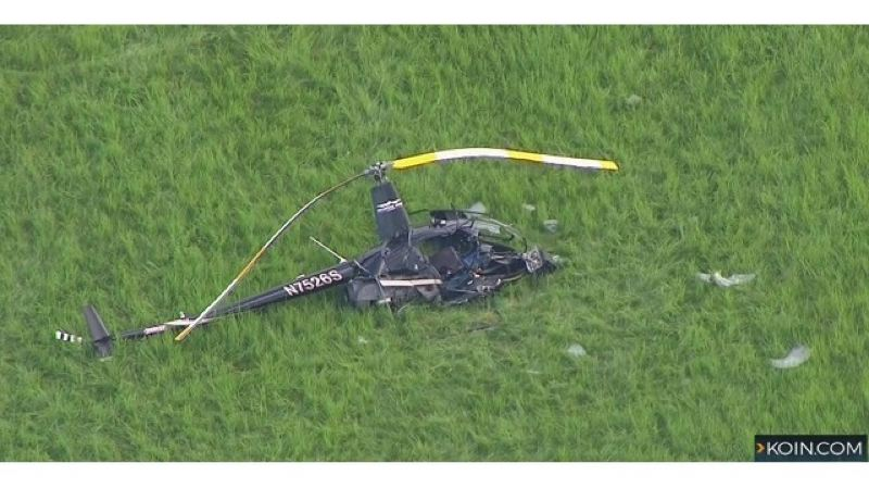 KOIN6 NEWS PHOTO - Multnomah County Sheriff's Office and Oregon State Police, along with other emergency response crews, responded to the scene of a helicopter crash Tuesday, May 1 at Sauvie Island.