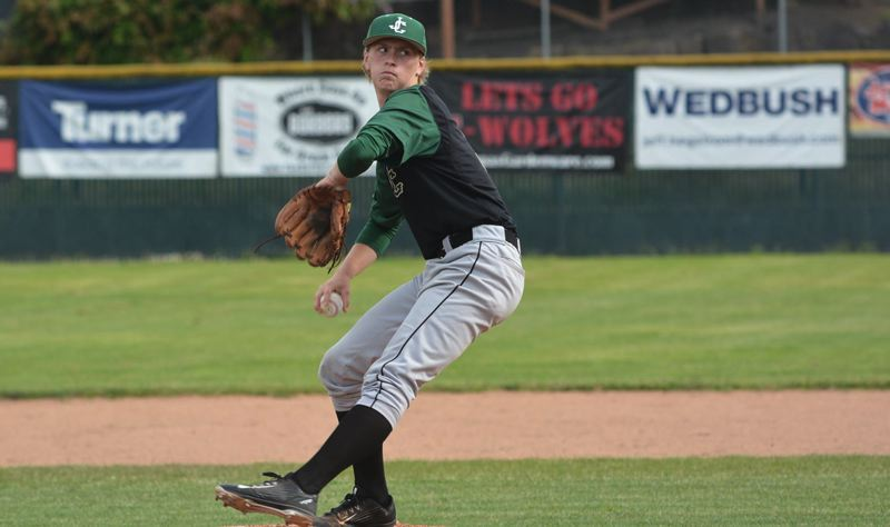 TIMES PHOTO: MATT SINGLEDECKER - Jesuit senior pitcher Trey Werner and the Crusaders are just a game back of Westview with four to go in the Metro League.