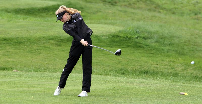 TIDINGS PHOTO: MILES VANCE - West Linn sophomore Olivia Venderby capped her spectacular regular season by finishing second on both days of the Three RIvers League district tournament, held Monday and Tuesday at Stone Creek Golf Club.