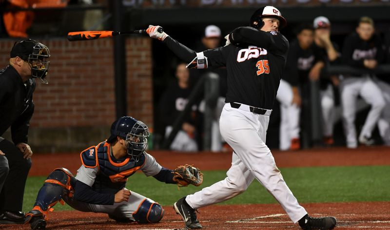 COURTESY: SCOBEL WIGGINS/OREGON STATE UNIVERSITY - Adley Rutschman, a sophomore from Sherwood, has picked up where he left off last year as a leader offensively as well as defensively for the highly ranked Oregon State baseball team.