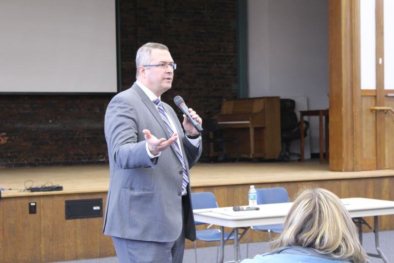 STAFF PHOTO: OLIVIA SINGER - David Parker speaks at a meet-and-greet for superintendent candidates Monday, April 30. The assistant superintendent of the Newberg School District has been named to succeed Yvonne Curtis, who resigned as the Forest Grove School District's superintendent in December.