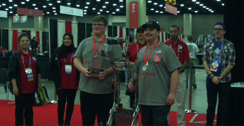 CONTRIBUTED PHOTO - Nicholas Sylvias and Kahl Murdock will competed from Thursday, April 26, through Saturday, April 28, participating in timed challenges testing the speed, efficiency and strength of their robot against 561 teams in the VEX Robotics World Championship.