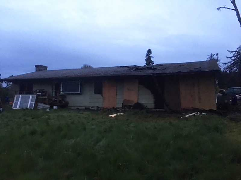 SUBMITTED PHOTO - A family lost their Sawtell Road home to a fire early morning Monday, April 30.