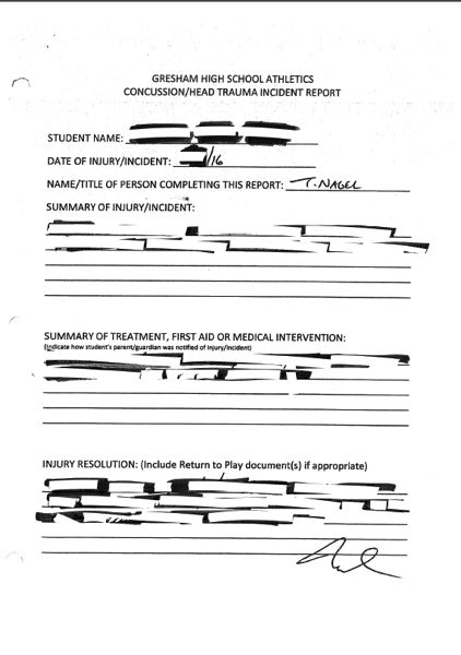 PAMPLIN MEDIA GROUP - The Gresham-Barlow School District initially redacted nearly all the information in the requested concussion documents. The Multnomah County District Attorney told the district to comply with the request, which it did.