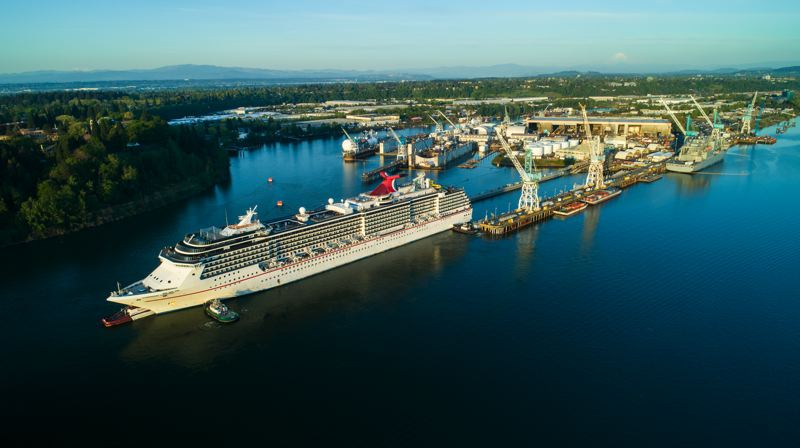 PHOTOS: CRAIG ALNESS/VIGOR. - Carnival Cruise Line Legend backs into the dry dock at Vigor Industrial on Swan Island