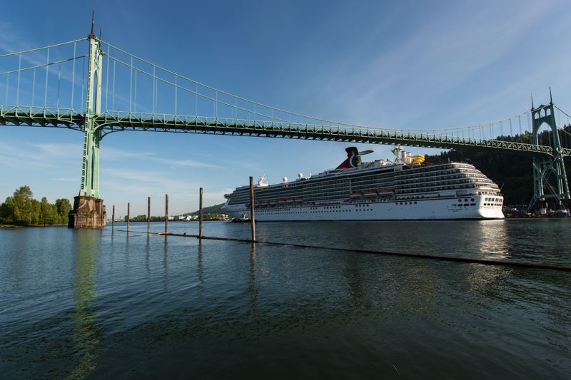 PHOTOS: CRAIG ALNESS/VIGOR. - The Carnival Legend passes under the St. Johns Bridge Wednesday afternoon May 2, 2018.