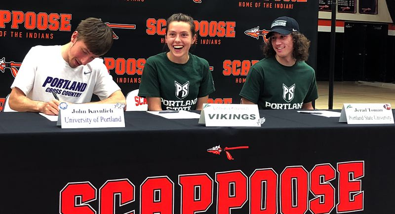 SPOTLIGHT PHOTO: STEVE BRANDON - Scappoose High standouts (from left) John Kavulich, Linnaea Kavulich and Jerad Toman sign letters of intent for college athletics on Wednesday at Scappoose High School.