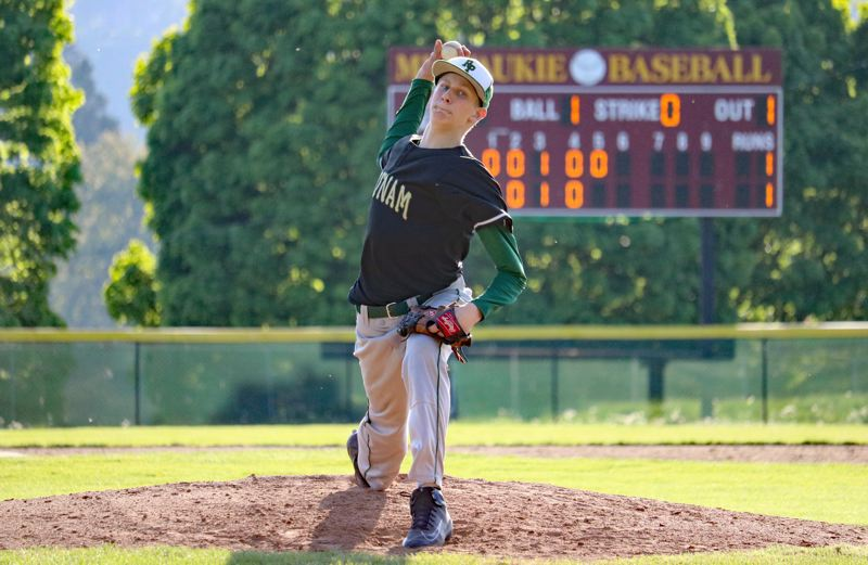 PAMPLIN MEDIA PHOTO: JIM BESEDA - Putnam starter Austin Hayes pitched five innings and allowed three runs (one earned) on four hits with one strikeout in Wednesday's 4-3 come-from-behind road win over Milwaukie.