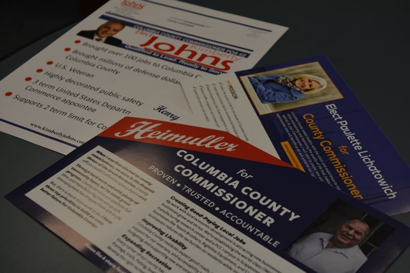 SPOTLIGHT PHOTO: COURTNEY VAUGHN - Political mailers from county commissioner candidates account for some of the spending in the 2018 Primary race.