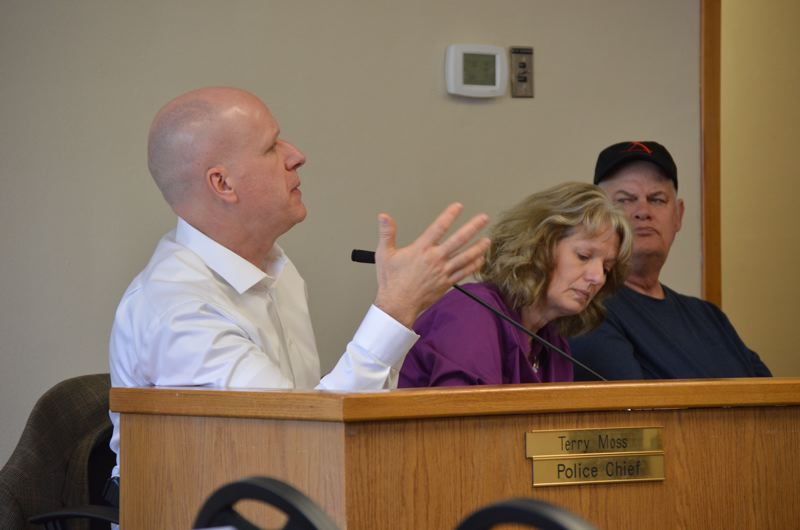 SPOTLIGHT PHOTO: NICOLE THILL-PACHECO - St. Helens Police Chief Terry Moss speaks during a St. Helens City Council work session Wednesday, May 2. Moss is pitching a recruiting and retention program that would help officers purchase homes in the city to encourage longevity with SHPD.