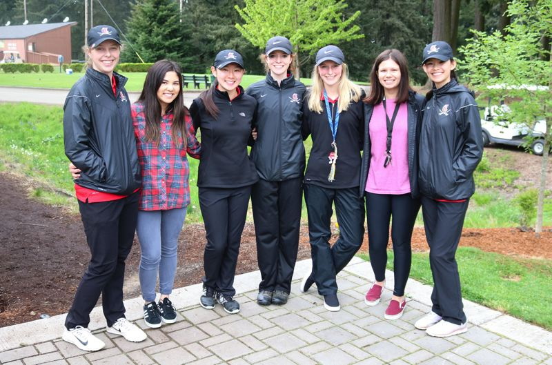 PAMPLIN MEDIA PHOTO: JIM BESEDA - Clackamas posted a two-day total of 644 to clinch the team title at the two-day Mt. Hood Conference girls' golf championships by 90 strokes over runner-up Central Catholic.