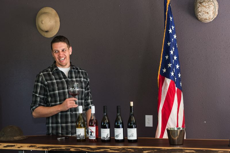STAFF PHOTO: CHRISTOPHER OERTELL - Dauntless co-founder Ben Martin served in the Marine Corps for five years, later starting a wine company with two fellow veterans.