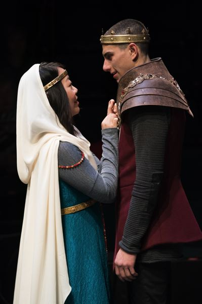PHOTO: JENNY GRAHAM, OREGON SHAKESPEARE FESTIVAL - Katherine, played by Jessica Ko, speaks very little English and Henry V hardly any French, yet they understand each other very well in OSFs production of Henry V.