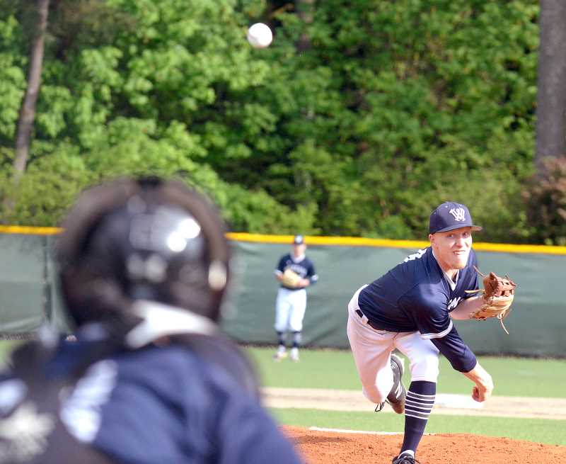 SPOKESMAN PHOTO: TANNER RUSS - Starting pitcher Haldan Bjornson had seven strikeouts in three innings against Parkrose, and was also a big contributor to the 16 runs Wilsonville scored.