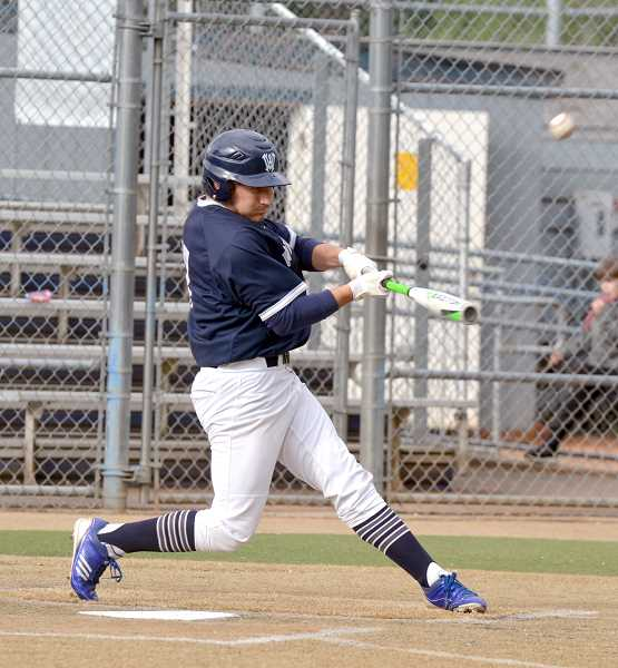SPOKESMAN PHOTO: TANNER RUSS - Andrew Gay had a big game offensively, with 2 hits and 2 RBIs against Parkrose on Tuesday, May 1.