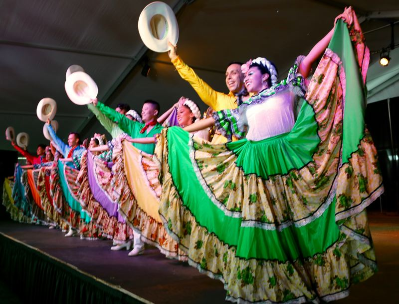 TRIBUNE PHOTO: ZANE SPARLING - Dancers perform during a Cinco de Mayo celebration on Saturday, May 5 at Tom McCall Waterfront Park in downtown Portland.