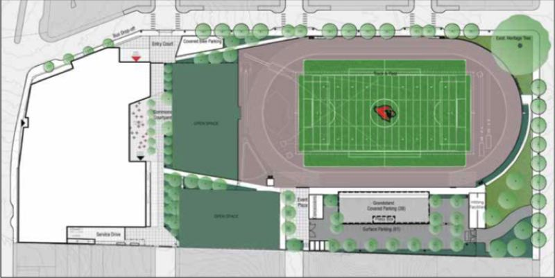 COURTESY: BORA ARCHITECTS - An early plan by BORA Architects showing how the new athletic field at Lincoln High School will occupy the east end of the site where the crumbling, overcrowded school building currently sits. The new high-rise building will be built at the west end, shown by the white shape on the left.