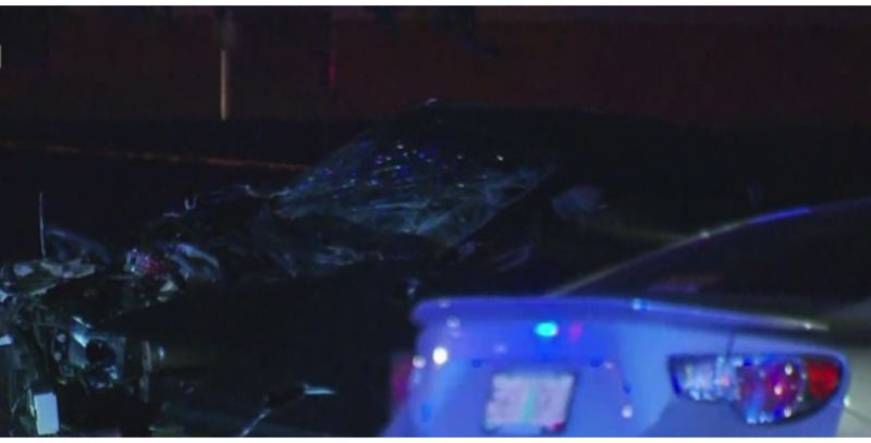 KOIN 6 NEWS PHOTO - Police say two cars were towed and a driver was injured after a street race occurred on North Marine Drive in Portland on Sunday, May 6.