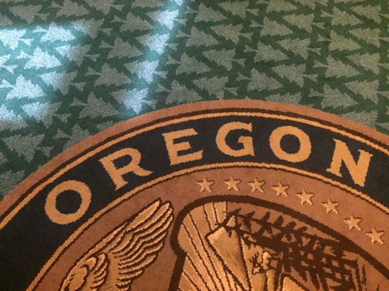 PARIS ACHEN/CAPITAL BUREAU - Carpet in the governor's office at the Oregon Capitol in Salem