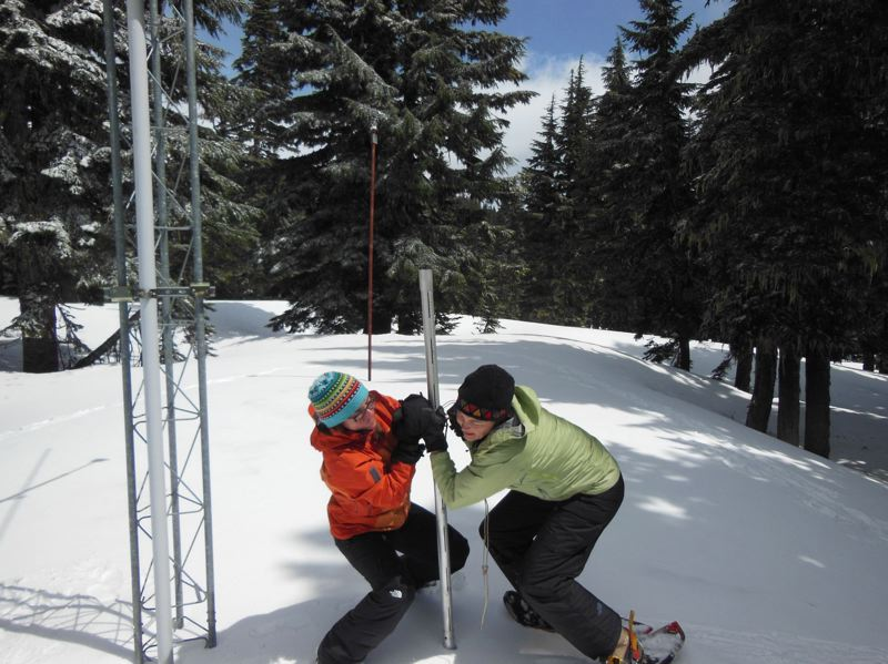 PAMPLIN MEDIA GROUP FILE PHOTO - USDA National Resources Conservation Service employees measured snow water content at a Mount Hood site three years ago as part of winter snowpack test. A new survey found low snowpack across the state, which could mean drought for some parts of Oregon.