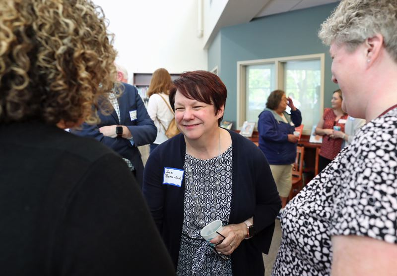 TIMES PHOTO: JAIME VALDEZ - Susan Rieke-Smith, who is prepared to take on the role as superintendent of the Tigard-Tualatin School District, met with dozens of staff and community members Monday afternoon.