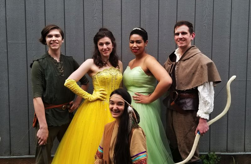 PHOTO COURTESY OF EASTSIDE THEATER COMPANY - Simeon Johnson as Peter Pan, Maegan Johnson as Belle, Anneliza Bates as Pocahontas, Jessica Gunnels as the Frog Princess and Ben Johnson as Robin Hood for Eastside Theater Company's Character Cafe and sundae social Saturday, May 12.