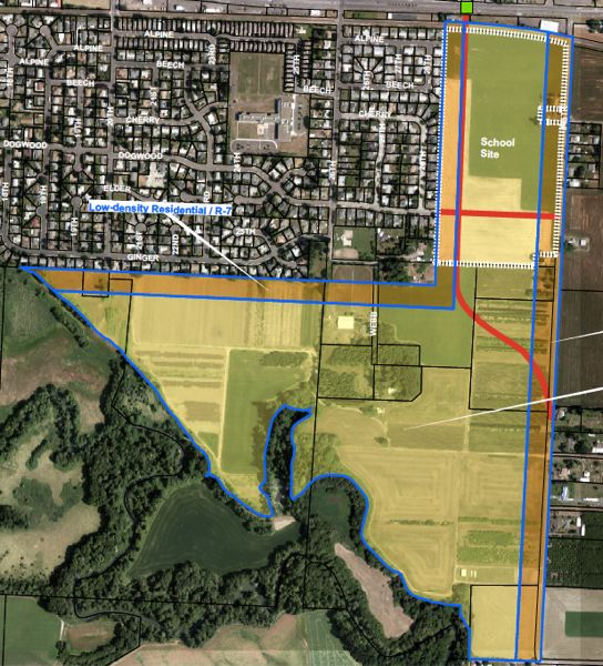 COURTESY MAP: CITY OF CORNELIUS - A draft planning map from 2015 shows the Hillsboro School District property to the northeast. At the time, the school district land was outside city limits, but the Cornelius City Council agreed Monday to bring it into the city in anticipation of possible future school development.
