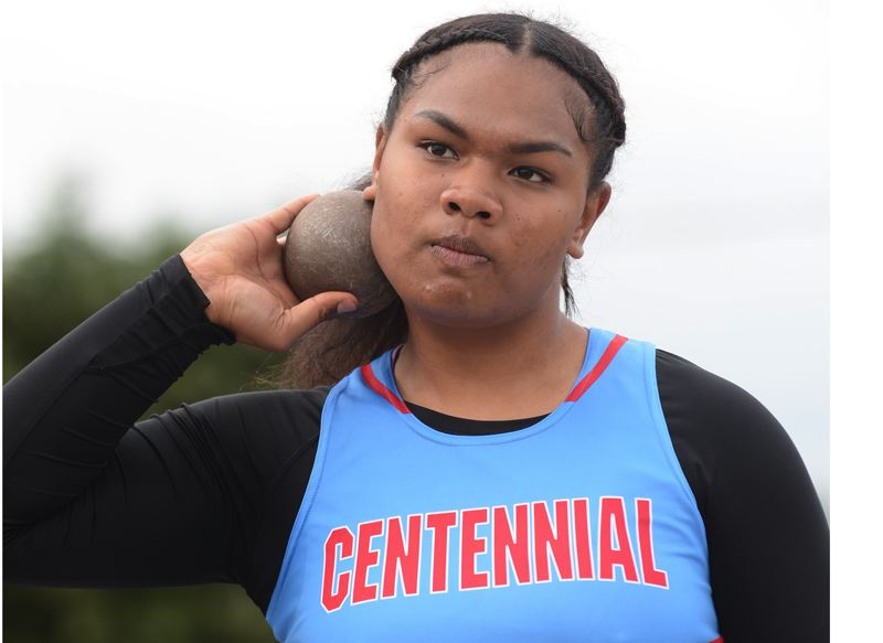 OUTLOOK PHOTO: DAVID BALL - Centennial sophomore Angel Aluesi went undefeated in the shot put and discus over the course of the MHC dual-meet season.