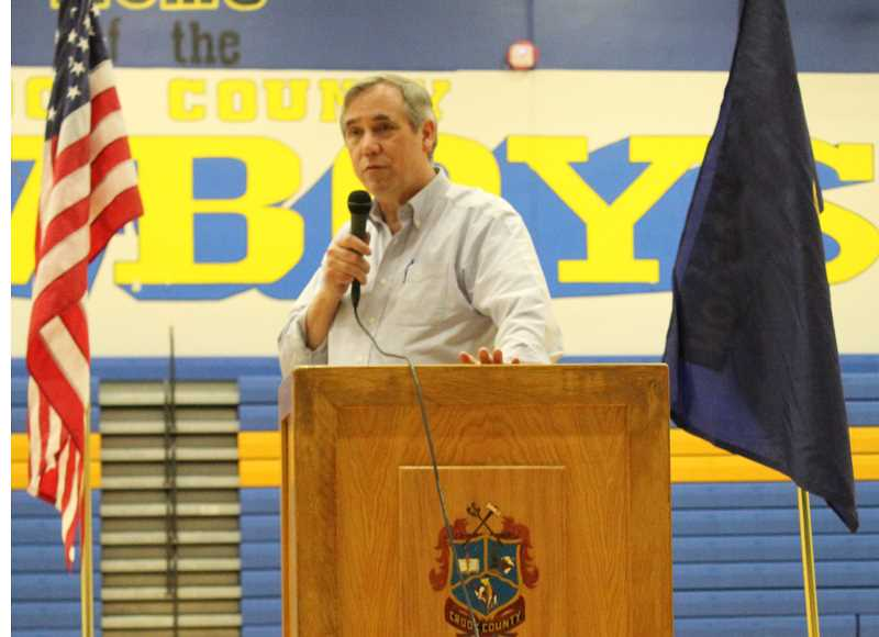 JASON CHANEY - Sen. Jeff Merkley addresses the town hall gathering at Crook County High School Sunday evening. Attendance was relatively small, about 50 people. Topics ranged from the federal tax bill to public involvement as a watchdog to government.