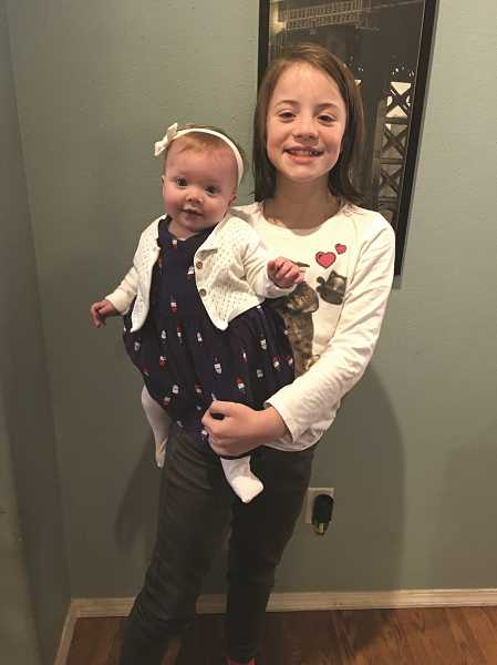 COURTESY PHOTO - Aubrie Hetland with her baby sister