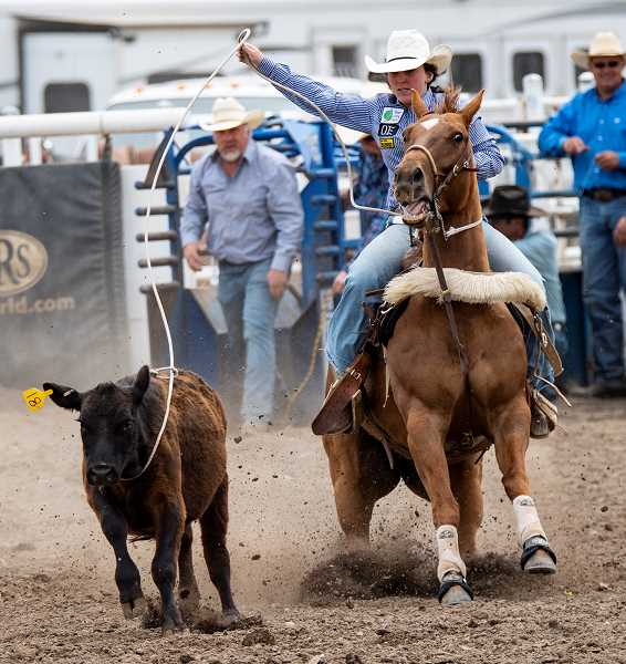 LON AUSTIN/CENTRAL OREGONIAN - Hope Luttrell makes a successful breakaway roping run. Luttrells placed fifth in the event on Saturday and sixth on Sunday at the Tri-County Rodeo, which was held at the Crook County Fairgrounds.