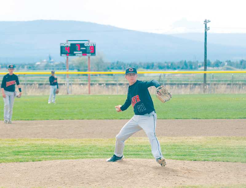 STEELE HAUGEN - Jordan Bender pitches against Sherman. The Bulldogs host a play-in game Friday, May 11 at 4 p.m.