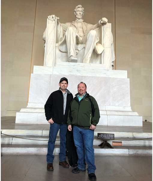 SUBMITTED PHOTO - Scott Duggan, left, and Jon Gandy visit the Lincoln Memorial in Washington, D.C.